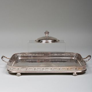 Silver Plate Two Handle Tray and a Dish Cover