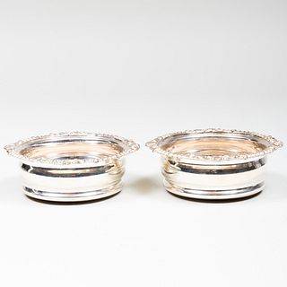Pair of English Silver Plate Bottle Coasters