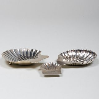 Three Silver Shell Dishes