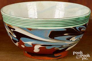 Small mocha bowl, with marbleized decoration
