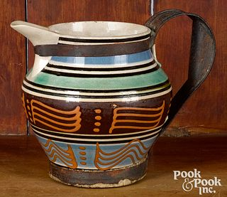 Mocha pitcher, with wavy line and dot decoration