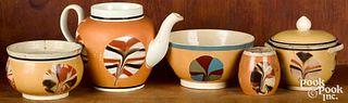 Mocha teawares with fan decoration
