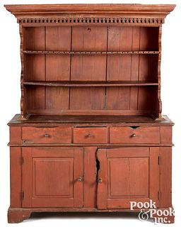Pennsylvania painted pine two-part pewter cupboard