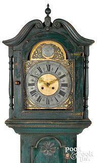 Pennsylvania painted hard pine tall case clock
