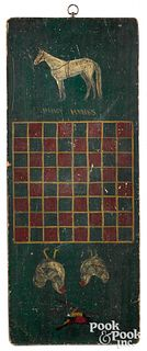 Painted pine gameboard, late 19th c.