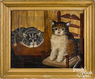 Primitive oil on canvas interior with two cats