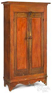 Painted pine raised panel cupboard, 19th c.