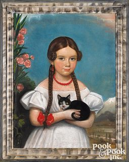 Pastel portrait of a young girl with cat, 19th c.