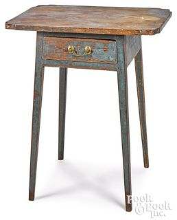 Southern painted hard pine one-drawer stand, early