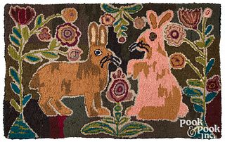 """American hooked rug, 20th c., with rabbits, 28"""" x"""