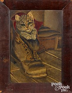 Oil on board of a cat in a boot, late 19th c.