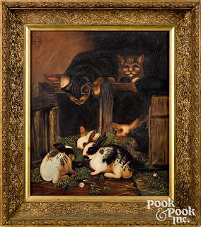 American oil on canvas of cats and rabbits