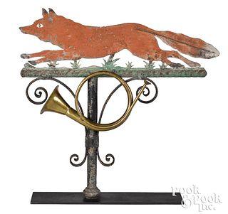 Painted zinc fox weathervane, 19th c.