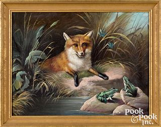Oil on canvas fox and frog at a stream