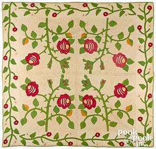 Appliqué rose quilt, 19th c.