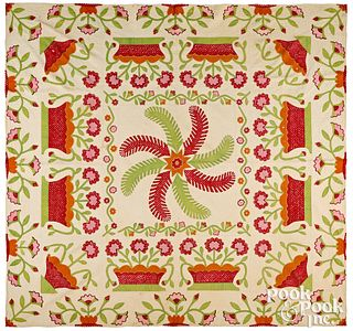 Princess Feather and rose basket quilt, ca. 1860