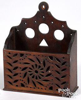 Mahogany wall pocket, 19th c.