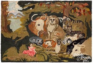 Hooked Peaceable Kingdom rug, early 20th c.