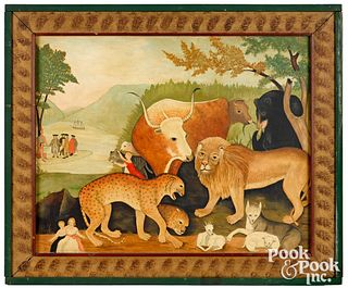 Oil on canvas of the Peaceable Kingdom