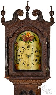 Pennsylvania painted pine tall case clock