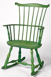 Fanback Windsor rocking chair, ca. 1800, retaining