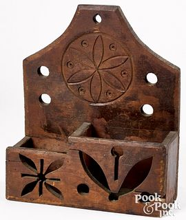 Stained pine hanging box, late 19th c., with pinwh