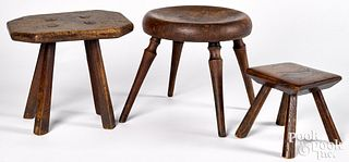 Three walnut and burl foot stools, 19th c., larges