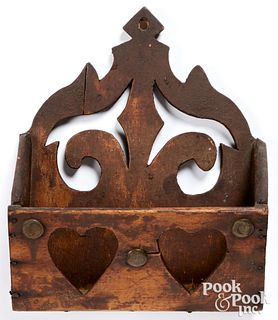 Stained pine hanging wall box, 19th c.