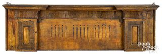 Federal painted pine hanging shelf, ca. 1810