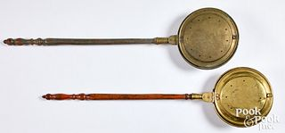 Two brass bedwarmers, 19th c.