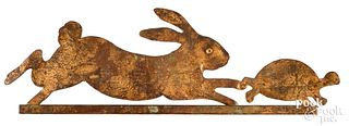 Sheet copper hare and tortoise weathervane, mid 20