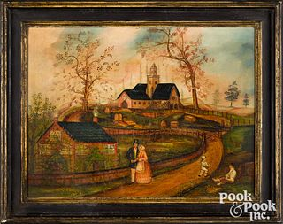 Primitive oil on canvas landscape, late 19th c., o