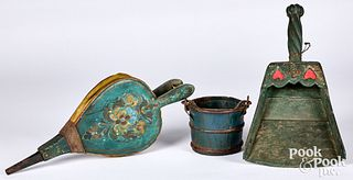 Painted bellows, 19th c., together with a wooden s