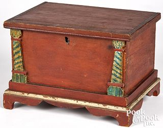 Miniature painted pine blanket chest, 19th c.