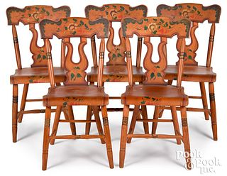 Five Pennsylvania painted plank seat chairs