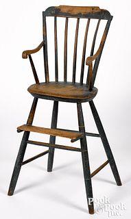 Pennsylvania rodback Windsor highchair, ca. 1820