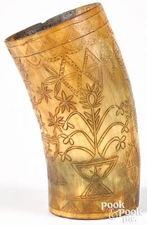 Scrimshaw decorated horn cup
