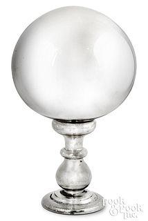 "<strong>Large mercury glass gazing ball, 22 1/2"" h"