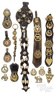 Group of vintage brass and leather horse tack.