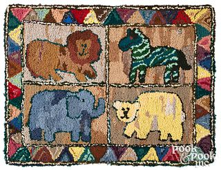 Two American hooked rugs, 20th c., with animals.