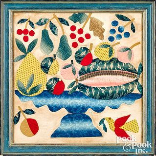 Appliqué quilt panel of a compote of fruit