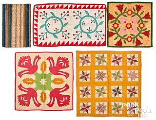 Five crib and doll quilts, late 19th c.