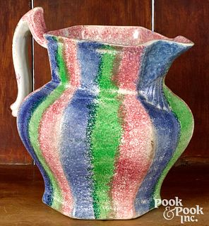 Three color rainbow spatter pitcher