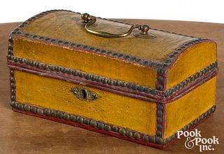 Painted leather dome lid box, 19th c.