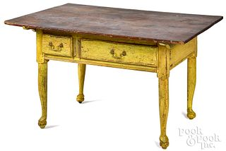 Southern painted hard pine tavern table, late 18th