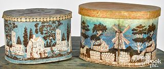 Two wallpaper hat boxes, mid 19th c.