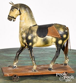 Painted horse pull toy, ca. 1900