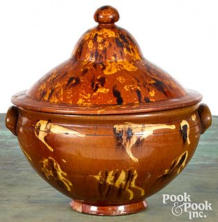 Large redware covered bowl, 19th c.