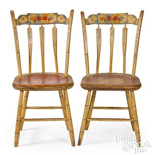 Pair of New England painted arrowback chairs