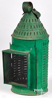 Painted punched tin lantern, 19th c.